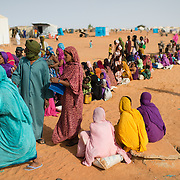 A food distribution queue at the Mbera refugee camp in southeastern Mauritania on 1 March 2013.