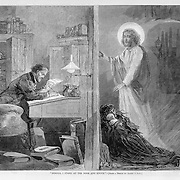 """Vintage Illustration: """"Behold, I stand at the door and knock"""" Jesus and poor woman with kids outside in the cold of a rich man's office door where he sits counting his money in comfort. 1874"""