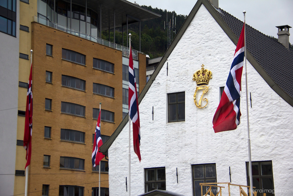 Europe, Norway, Bergen. Norwegian Flags in Bergen.