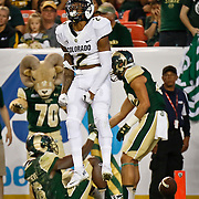 SHOT 9/19/15 7:09:09 PM - Colorado's Devin Ross #2 celebrates after catching a touchdown against Colorado State during the Rocky Mountain Showdown at Sports Authority Field at Mile High in Denver, Co. Colorado won the game 27-24 in overtime. (Photo by Marc Piscotty / © 2015)
