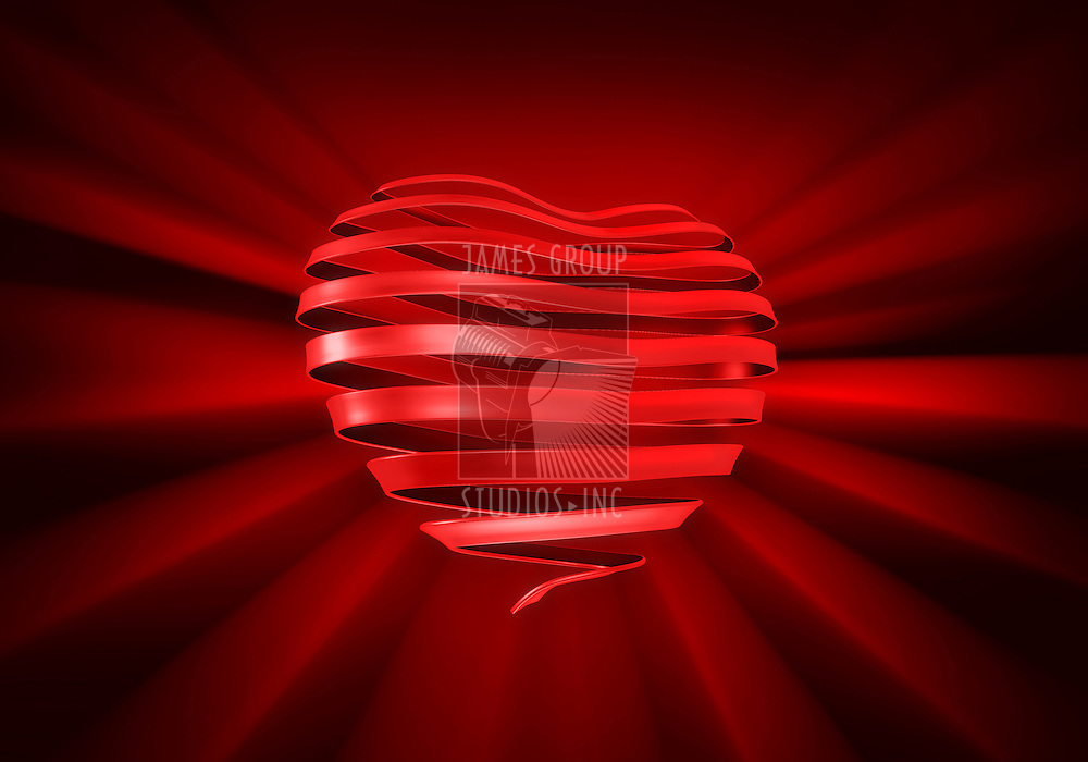 A ribbon curled into the shape of a heart on a rich dark red background.