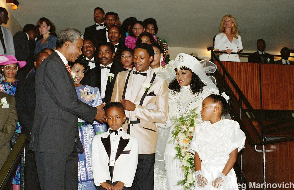 Nelson Mandela at the wedding of Zinzi Mandela and Zweli Hlongwane, October 1992