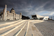 The new waterfront in Liverpool with the The Port of Liverpool Building and Museum of Liverpool in the background.