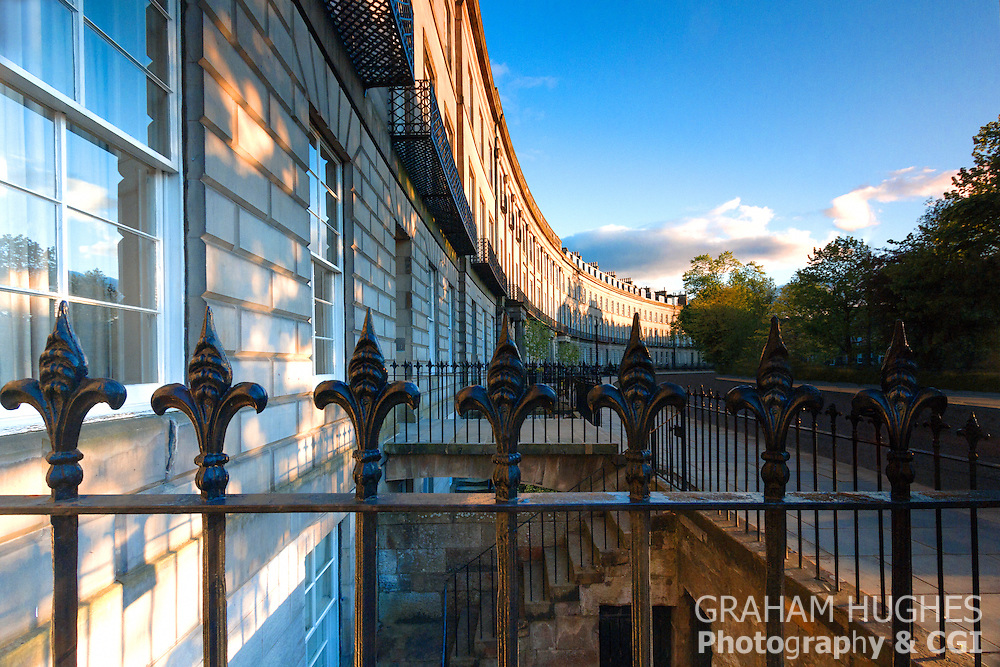 Late Evening Sunshine On Georgian Terrace, At Atholl Crescent, Edinburgh, Scotland