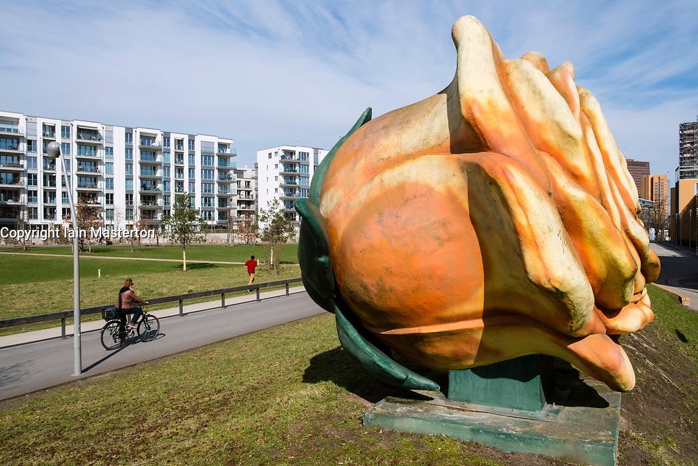 View of Gleisdreieck Park with sculpture in Berlin, Germany