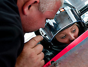 Seventeen year-old Amanda Forney and her father race at the Shenandoah Speedway.