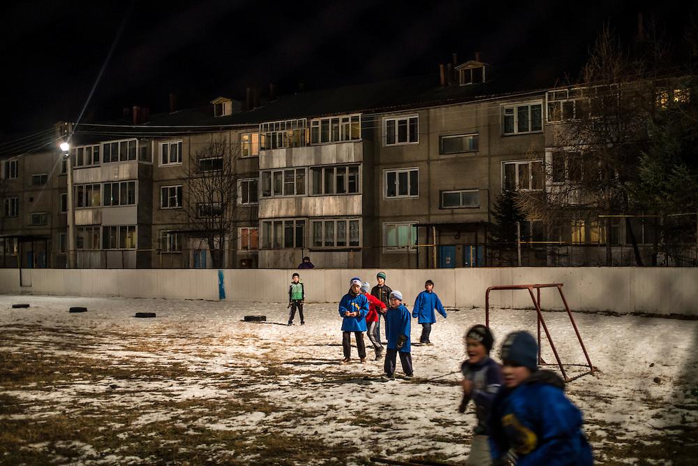 Boys play soccer on Monday, October 28, 2013 in Baikalsk, Russia.