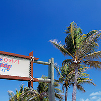 Caribbean, Bahamas, Castaway Cay. Welcome to Castaway Cay sign.