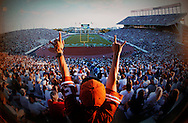 North end zone, Memorial Stadium ( now Darrell K. Royal-Texas Memorial Stadium ) in Austin, Texas. September 1995. Photograph © 1995 Darren Carroll.