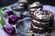 Chocolate Easter Cakes with Mascarpone Frosting and Purple Tuips