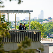 5/19/2013 - Medford, MA - Kris Hameister A13 looks out from the Library Roof before the 157th Tufts University Commencement. (Ian MacLellan for Tufts University)