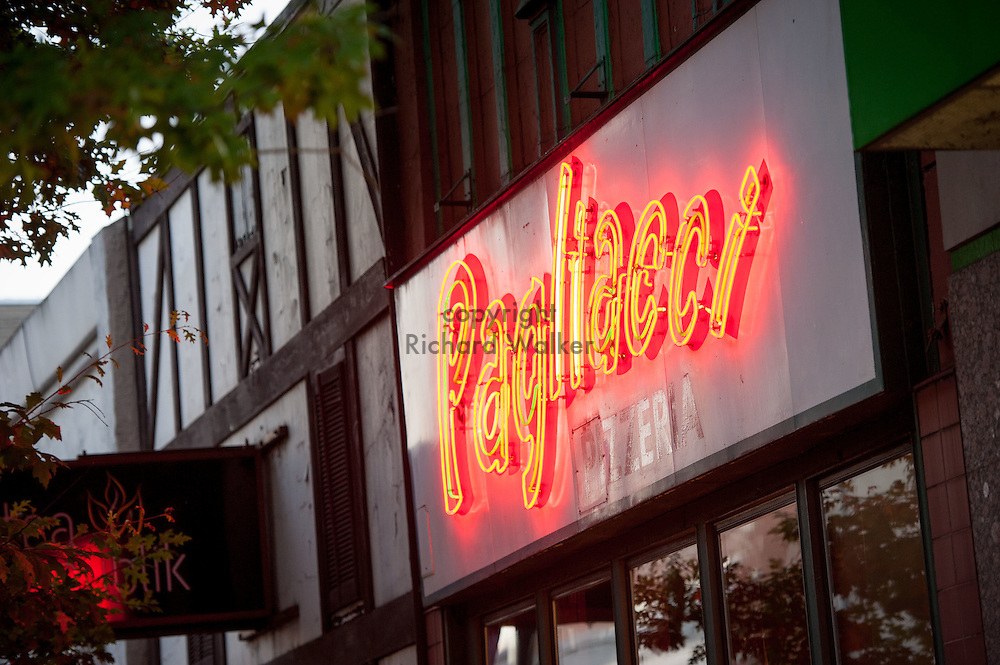 2016 October 10 - Pagliacci Pizza Neon Sign in the University District, Seattle, WA, USA. By Richard Walker
