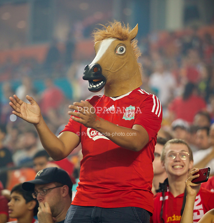MIAMI, USA - Monday, August 4, 2014: A Liverpool supporter wearing a horses head during the International Champions Cup Final match against Manchester United at the SunLife Stadium on day fifteen of the club's USA Tour. (Pic by David Rawcliffe/Propaganda)