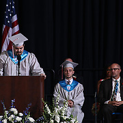 Conrad Schools of Science graduate and Valedictorian Derek Bischoff addresses students and family during Conrad commencement exercises Saturday, June 06, 2015, at The Bob Carpenter Sports Convocation Center in Newark, Delaware.