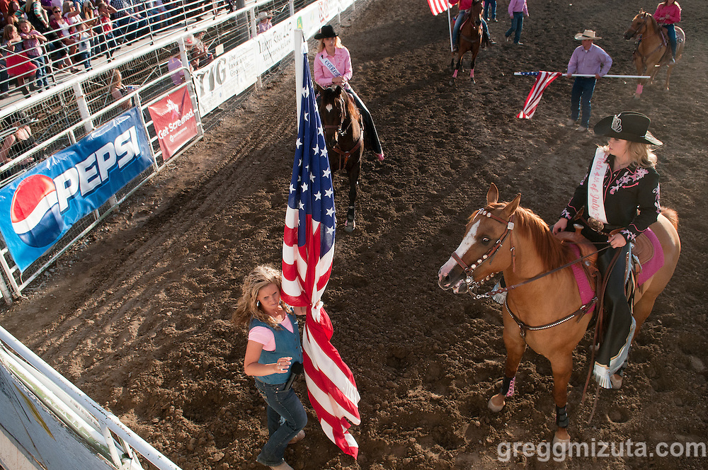 Holly Wayne Stepleton and Vale Rodeo Queen Samantha Woods at the Vale 4th of July Rodeo on July 2, 2016 in Vale, Oregon.