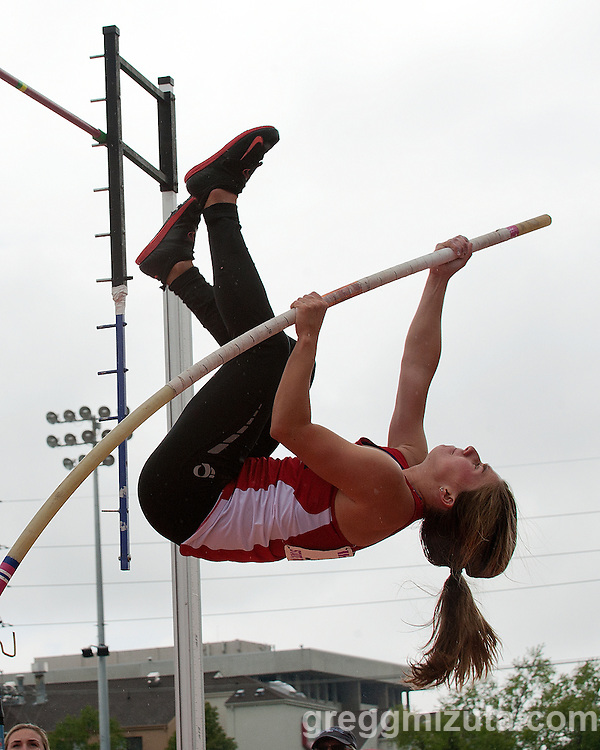 Boise senior Emma Bellan competes in the Idaho High School Track & Field State Championships 5A pole vault competition at Dona Larson Park, Boise, Idaho. May 15, 2015. Bellan finished second with a vault of 11-00.00.