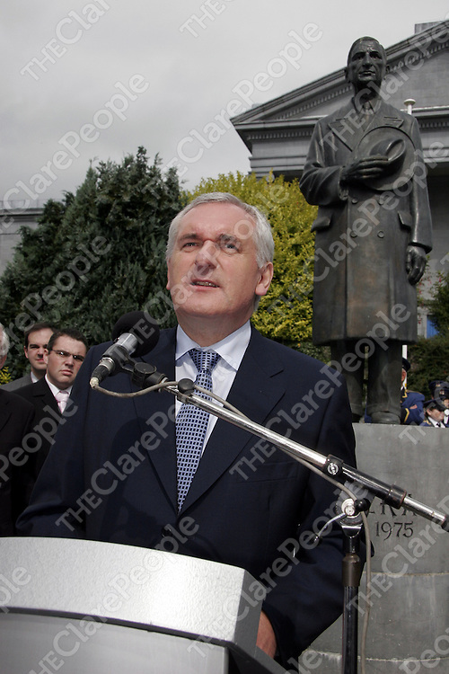 An Taoiseach Bertie Ahern during his speech at a memorial service for Eamon de Valera in Ennis on Saturday.<br />