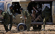 An Israeli soldier who were wounded in south lebanon  being evacutated by helicopter to a hospital. At least four Israeli soldiers were wounded in fighting . (Photo by Heidi Levine/Sipa Press).