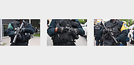 Close-up of riot police officers during student demonstrations at the Montreal Formula One events. Montreal, June 7, 2012,