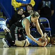 New York Liberty Guard ELIN ELDEBRINK (3) and Chicago Sky Guard JORDAN JONES (13) dives for the loose ball in the third period of a WNBA preseason basketball game between the Chicago Sky and the New York Liberty Sunday, May. 01, 2016 at The Bob Carpenter Sports Convocation Center in Newark, DEL