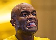 UFC 183 fighter Anderson Silva readies to make a strike during 'workouts' open to the public at the MGM Grand Casino floor.