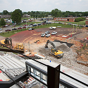 Crews have nearly filled the sinkhole on Austin Peay State University's football field with rock and concrete on Thursday, May 22, 2014. (Bill Persinger, APSU PR and Marketing)