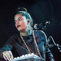 Naomi Diaz of Ibeyi performs on stage at King Tuts on November 10, 2015 in Glasgow,Scotland
