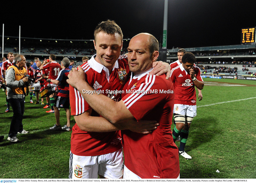 5 June 2013; Tommy Bowe, left, and Rory Best following the British & Irish Lions' victory. British & Irish Lions Tour 2013, Western Force v British & Irish Lions, Patterson's Stadium, Perth, Australia. Picture credit: Stephen McCarthy / SPORTSFILE