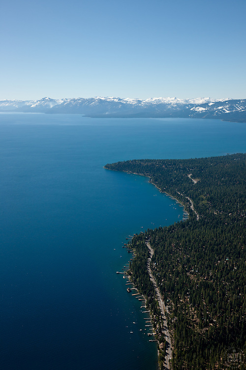 """Lake Tahoe Aerial 3"" - Photograph of Lake Tahoe alone the West shore. Shot from an amphibious seaplane with the door removed."