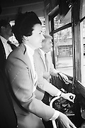 Mayor Feinstein Driving Streetcar for 1985 Trolley Car Festival | May 18, 1985