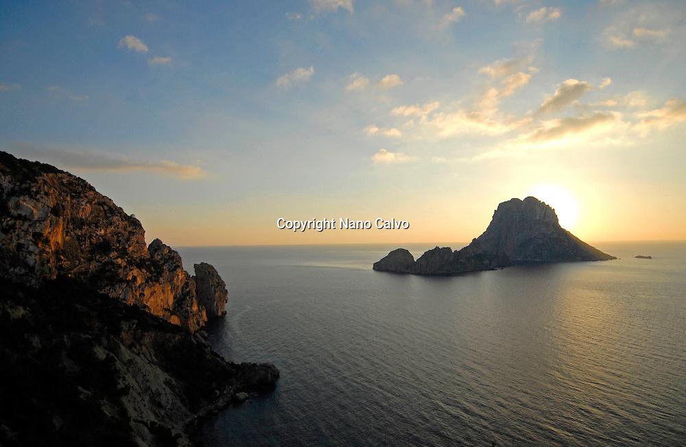 View of popular Es Vedra rock, Ibiza, Spain