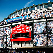 "SHOT 4/22/12 2:27:53 PM - Wrigley Field (pronounced /rli/) is a baseball stadium in Chicago, Illinois, United States that has served as the home ballpark of the Chicago Cubs since 1916. Wrigley Field is nicknamed The Friendly Confines, a phrase popularized by ""Mr. Cub"", Hall of Famer Ernie Banks. The current capacity is 41,159, making Wrigley Field the 10th-smallest actively used ballpark. It is the oldest National League ballpark and the second oldest active major league ballpark. Chicago is the largest city in the US state of Illinois and the third most populous city in the United States, with around 2.7 million residents. Its metropolitan area, sometimes called ""Chicagoland,"" is the third largest in the United States, with an estimated 9.8 million people within its metropolitan area. Chicago is the county seat of Cook County. Chicago has many nicknames, which reflect the impressions and opinions about historical and contemporary Chicago. The best known include: ""Chi-town,"" ""Windy City,"" ""Second City,"" and the ""City of Big Shoulders. (Photo by Marc Piscotty / © 2012)"