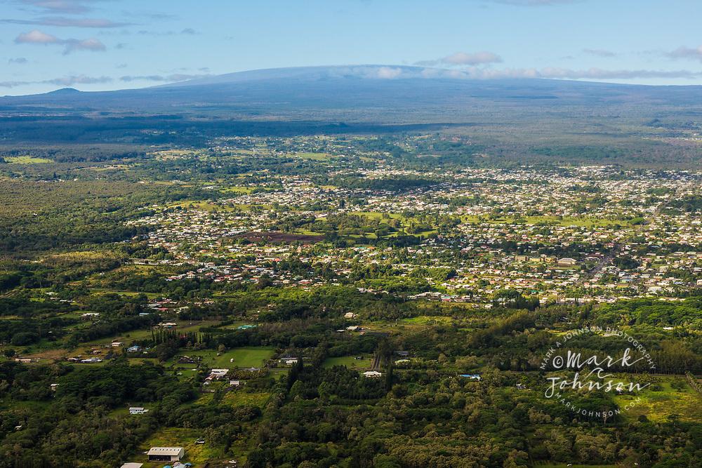 Aerial photo of Hilo with Mauna Loa in background, Big Island, Hawaii