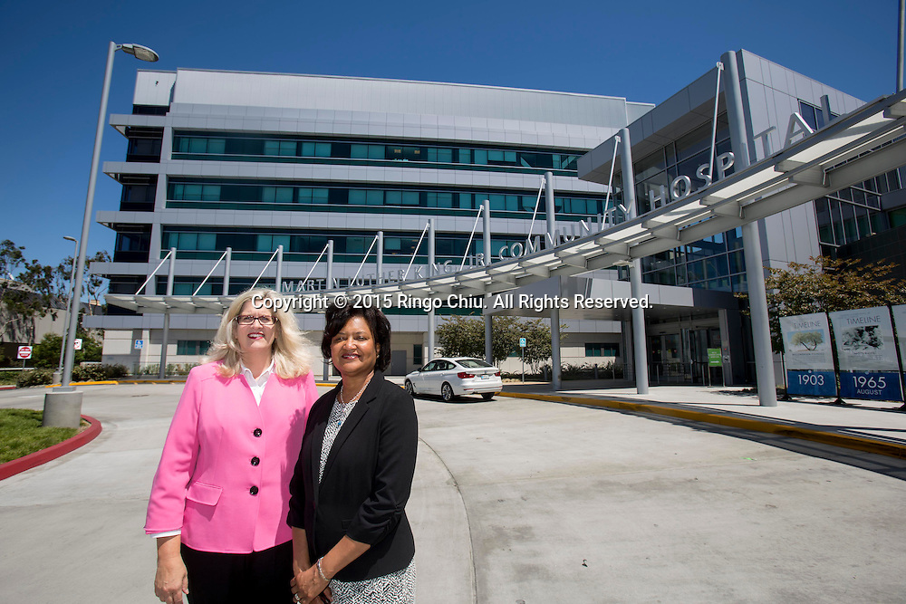 Dr. Elaine Batchlor, right, Chief Executive Officer of Martin Luther King, Jr. Community Hospital  and Susan Burrows, VP of Human Resources for the hospital.<br /> Photo by Ringo Chiu/PHOTOFORMULA.com)