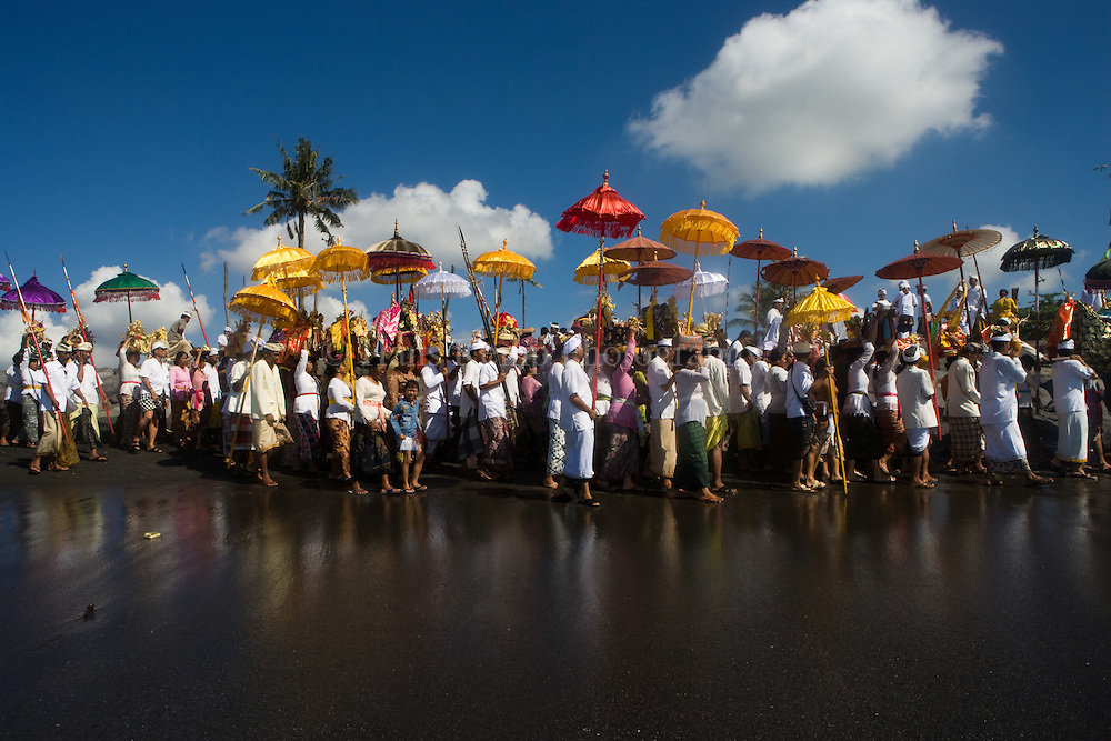 The Melasti Ceremony on Padanggalak Beach