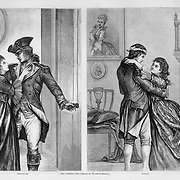"""Pro Patria-1776""  & ""The Return"" A soldier of the American Revolution leaves his home and lover, then returns after the war with a head wound. Illustration by Walter Satterlee for July 1876 Harper's Weekly  (US Centennial year)"
