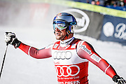 SHOT 12/4/15 11:25:06 AM - Norwegian skier Aksel Lund Svindal reacts after a first place run in the finish area at the 2015 Audi Birds of Prey Downhill at Beaver Creek Ski Resort in Beaver Creek, Co. Birds of Prey is the only men's Audi FIS Ski World Cup stop in the United States. Lyman finished 15th with a time of 1:43.90. Svindal won the event with a time of 1:42.34. (Photo by Marc Piscotty / © 2015)