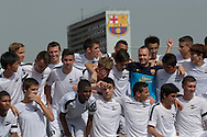 Barcelona, Spain, August 20 of 2012:  The Chance players during the first day of tests at Barcelona F.C. training field. The boys met Barcelona's players Iniesta, Thiago, Busquets, Pique, Mascherano and Alexis Sanchez. (photo: Caio Guatelli)