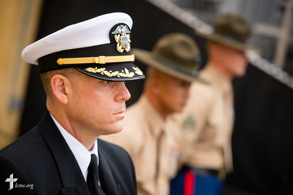 Cmdr. Charles E. Varsogea, chaplain at the Marine Corps Recruit Depot, participates Friday, Jan. 30, 2015, in the recruit graduation ceremony at the depot in San Diego, Calif. LCMS Communications/Erik M. Lunsford