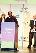 l to r: Jane Rosenthal, Spike Lee and Robert De Niro at The 2009 Tribeca Film Festival Opening Press Conference Kick-Off held at The Borough of Manhattan Community College in New york City on April 21, 2009