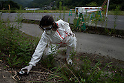 Mr Miura of the NGO Heart Care Rescue checking the very high ground radiation at the border of the 20 km zone from the Dai Ichi nuclear plant, in Namie village.