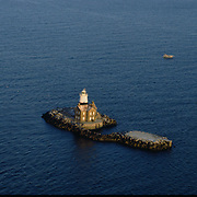 Aerial photograph of  Execution Rocks Lighthouse Sands Point, long island, new york