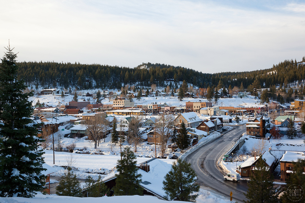 """""""Downtown Truckee 3"""" - This snowy scene of Downtown Truckee, CA was photographed in an incredible snowy November, called Snovember by some locals."""