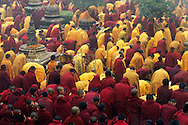 Morning gathering in Mahabodhi Temple, Bodhgaya, 2003