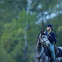 A Union soldier and her horse scout ahead of advancing troops during a sunrise reenactment of Donelson's Attack, part of a weekend of events commemorating the 150th anniversary of the Battle of Perryville in Perryville, Ky. Saturday October 6, 2012.  Photo by David Stephenson