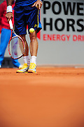 Juan Monaco's bleeding wound, caused through his falling on the ground after a dive at the net, during the semifinal at the Power Horse Cup 2013 at Rochusclub in Duesseldorf, Germany on May 24, 2013. Photo: Miroslav Dakov