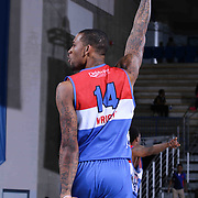 Delaware 87ers Forward Joel Wright (14) celebrates in the second half of a NBA D-league regular season basketball game between the Delaware 87ers and the Grand Rapids Drive (Detroit Pistons) Saturday, Apr. 04, 2015 at The Bob Carpenter Sports Convocation Center in Newark, DEL.