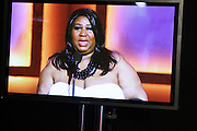 Aretha Franklin on the screen in the Media Room at The 39th Annual NAACP IMAGE AWARDS held at the Shrine Auditorium in Los Angeles, Calaifornia on February 14, 2008