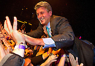 "Minneapolis Mayor R.T. Rybak crowd surfs on his supporters after a short speech during his ""Unauguration Party"" at First Avenue, Wednesday, December 18, 2013."