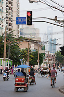 street scene with bikes in Shanghai China